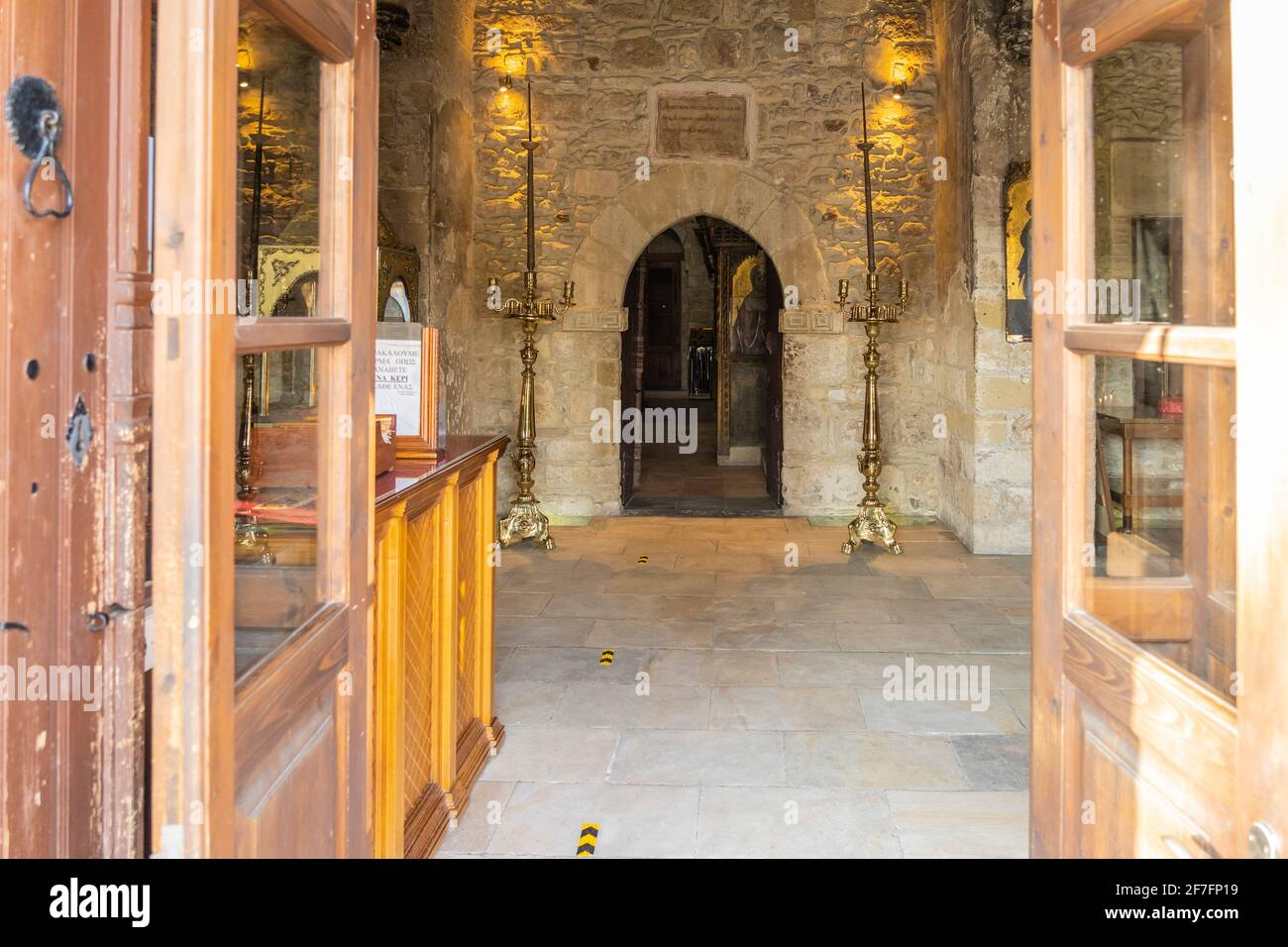 December 2020. Kiti, Larnaca Cyprus. Interior of Panagia Angeloktisti or Our Lady built by Angels, 11th Century, Kiti Stock Photo