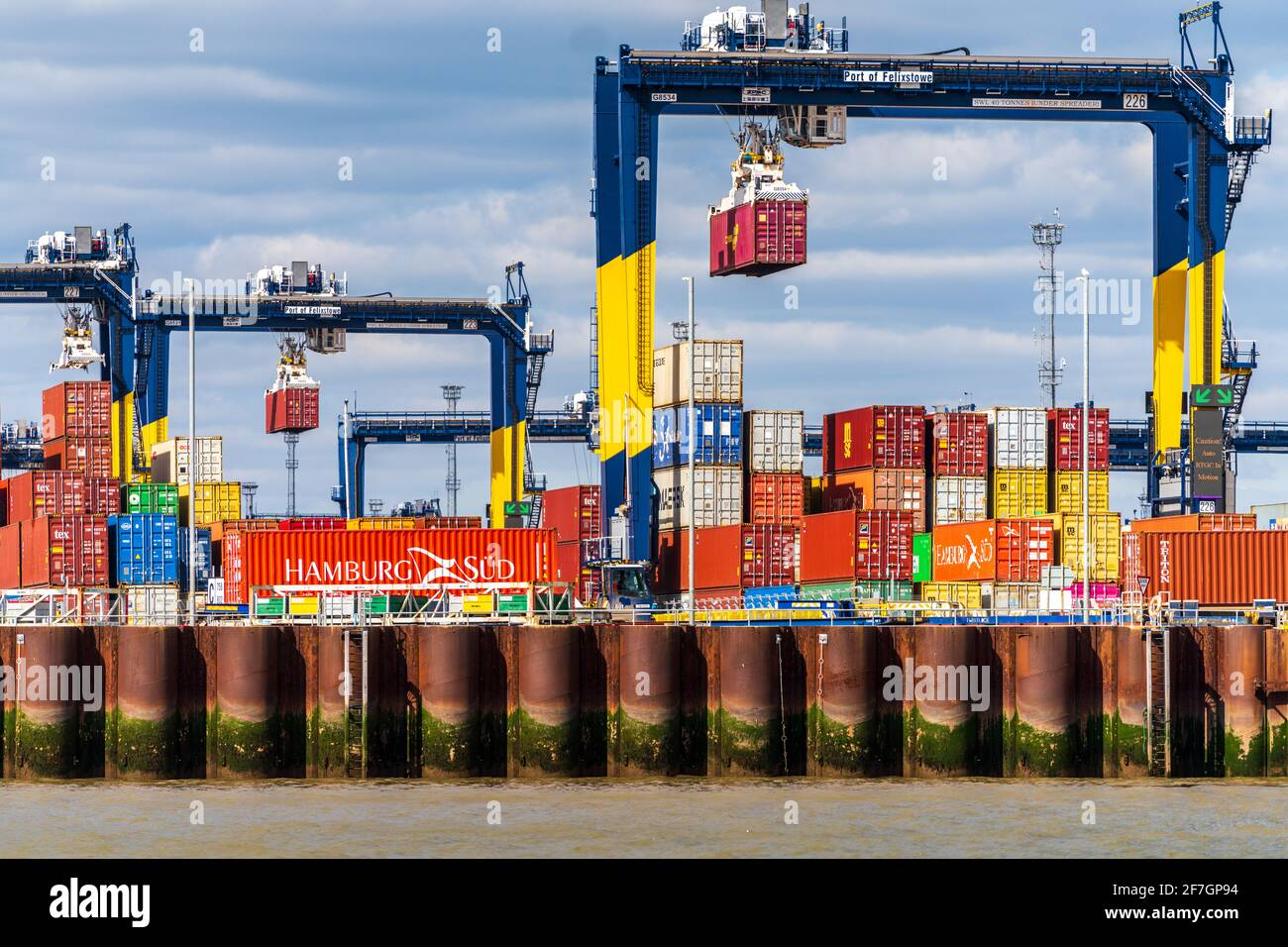 Global Britain UK Trade, UK Container Trade - UK Container Port - Shipping containers being stored at Felixstowe Port, the UK's largest container port Stock Photo