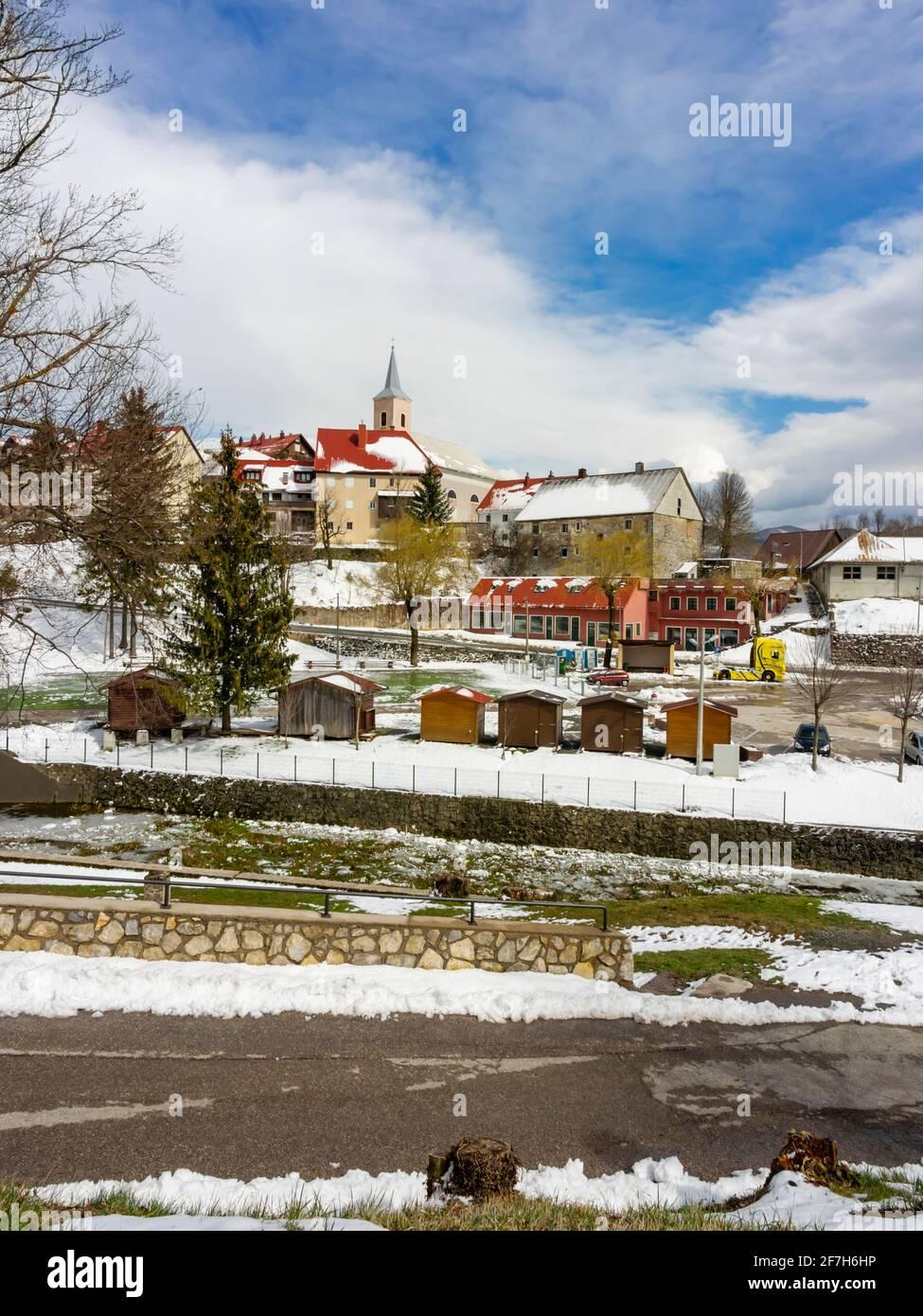 Center of Fuzine in Croatia Europe Stock Photo