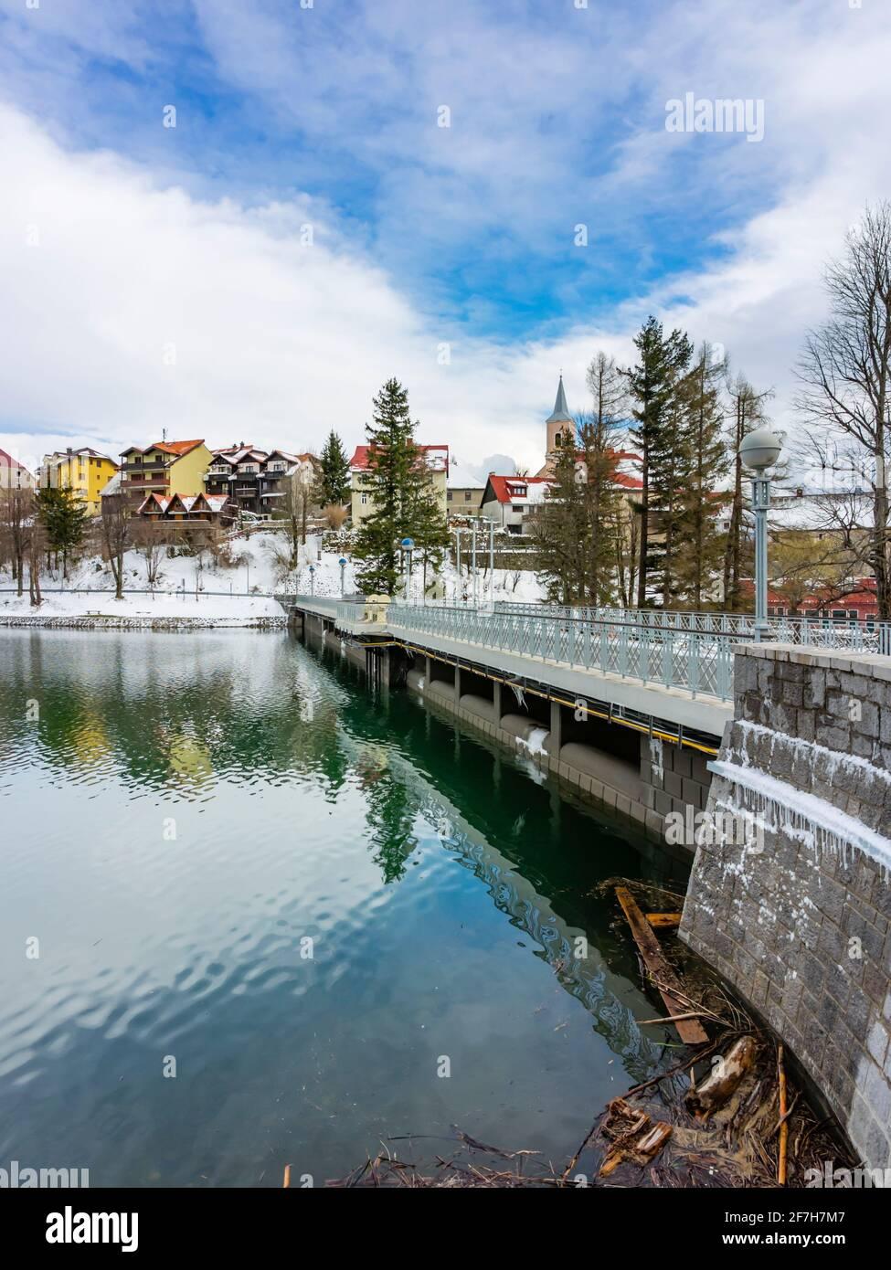 Lake Bajer dam street passage im Fuzine in Croatia Europe Stock Photo
