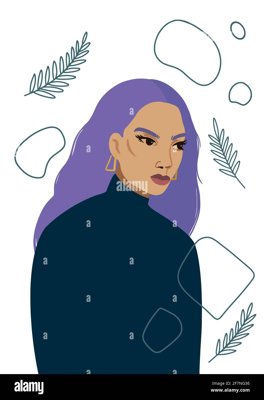 Beautiful young woman in modern minimalistic style. Stock Vector