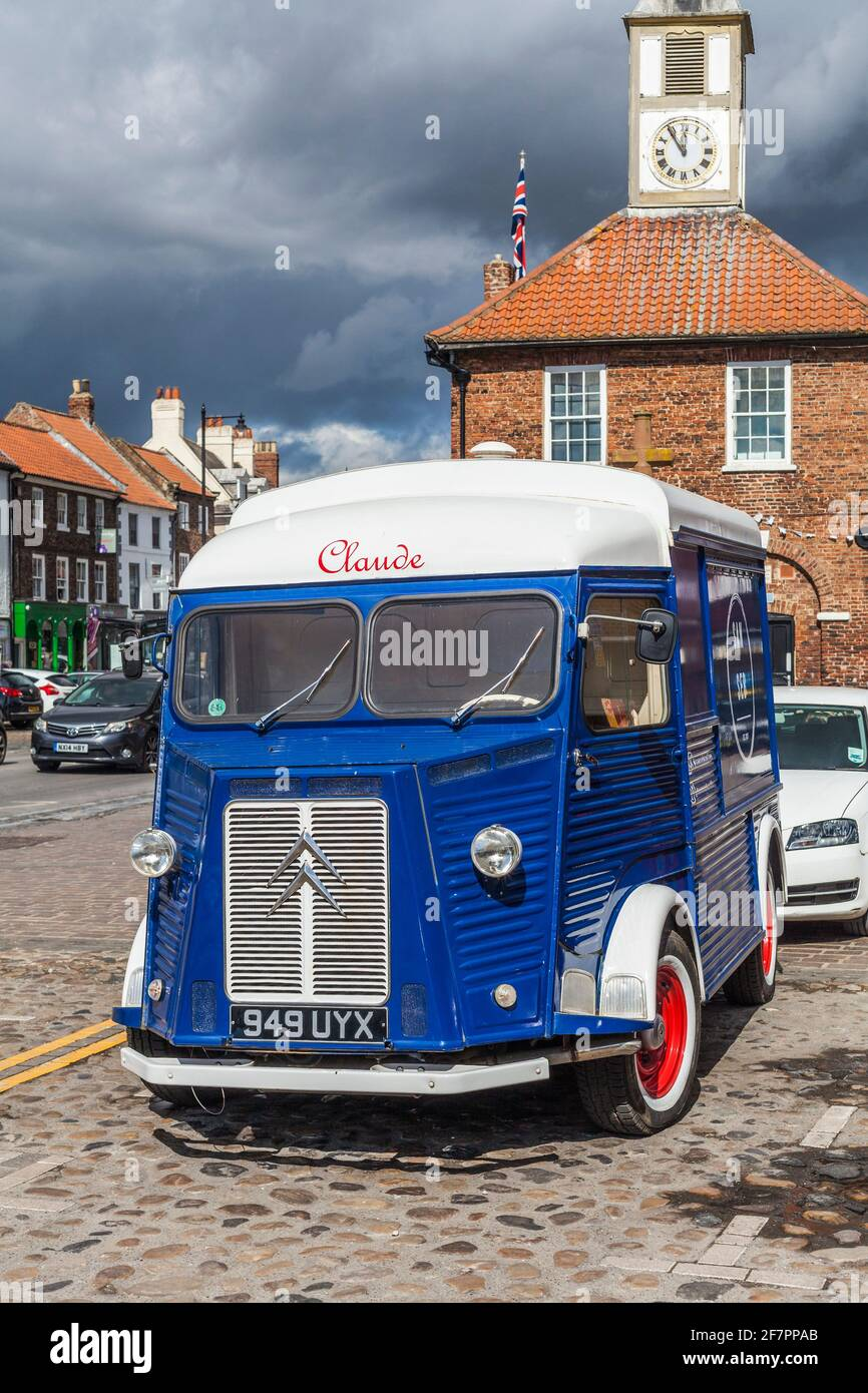 The distinctive 1958 Citroen H Van used by San Seb Coffee outlet in Yarm,England,UK parked up on the High Street. Stock Photo