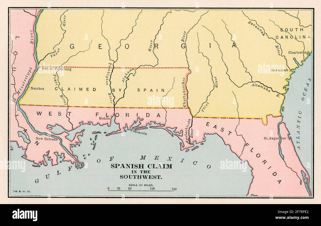 Colonial Spanish land claim along the Gulf Coast. Color lithograph Stock Photo
