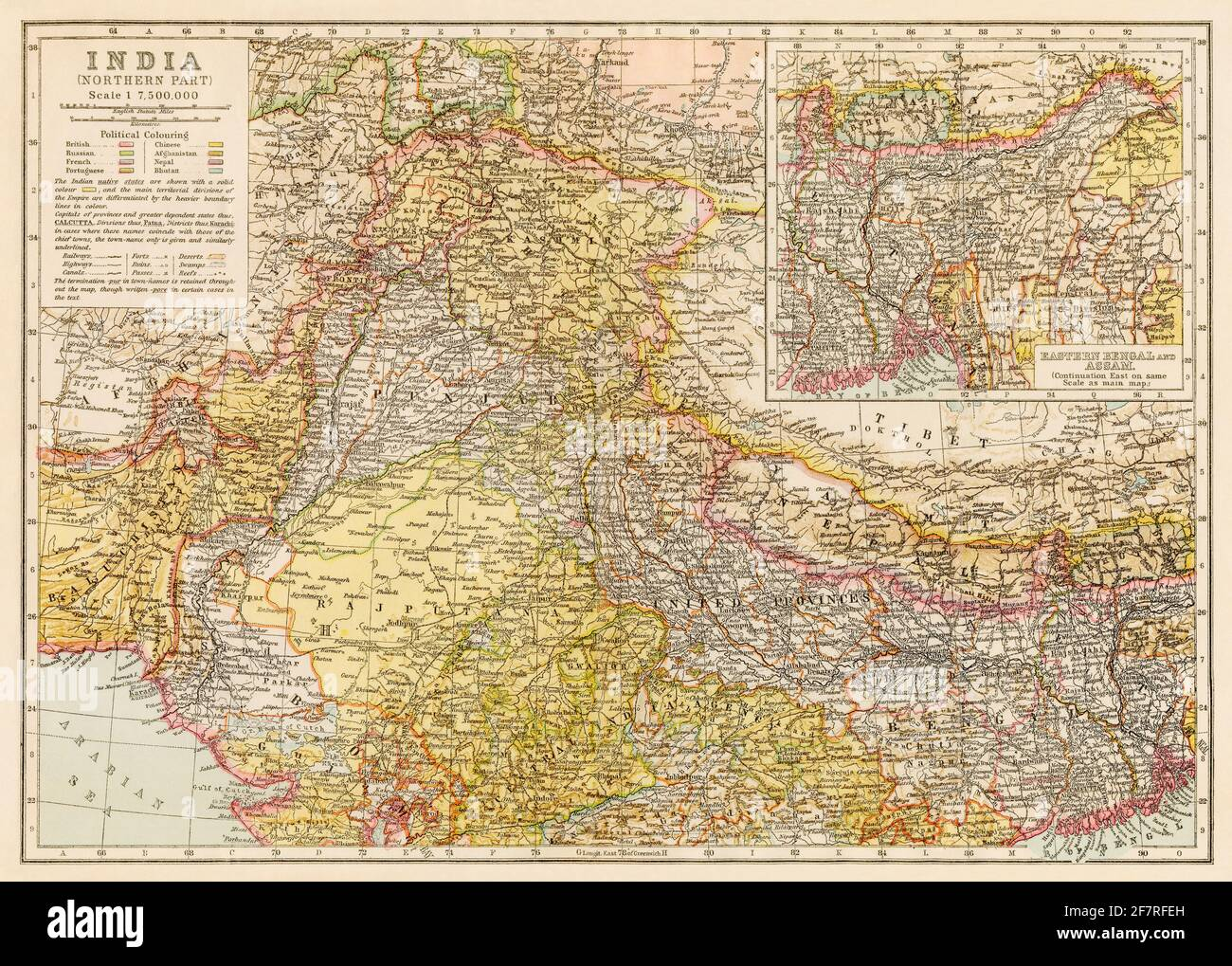 Map of northern India in the early 1900s. Color lithograph Stock Photo
