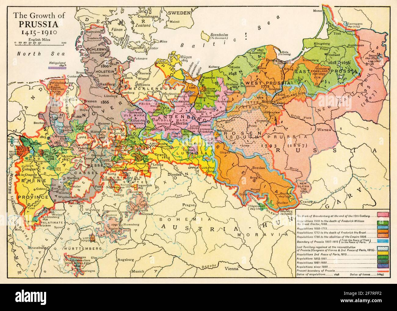 Growth of Prussia, 1415-1910. Color halftone Stock Photo