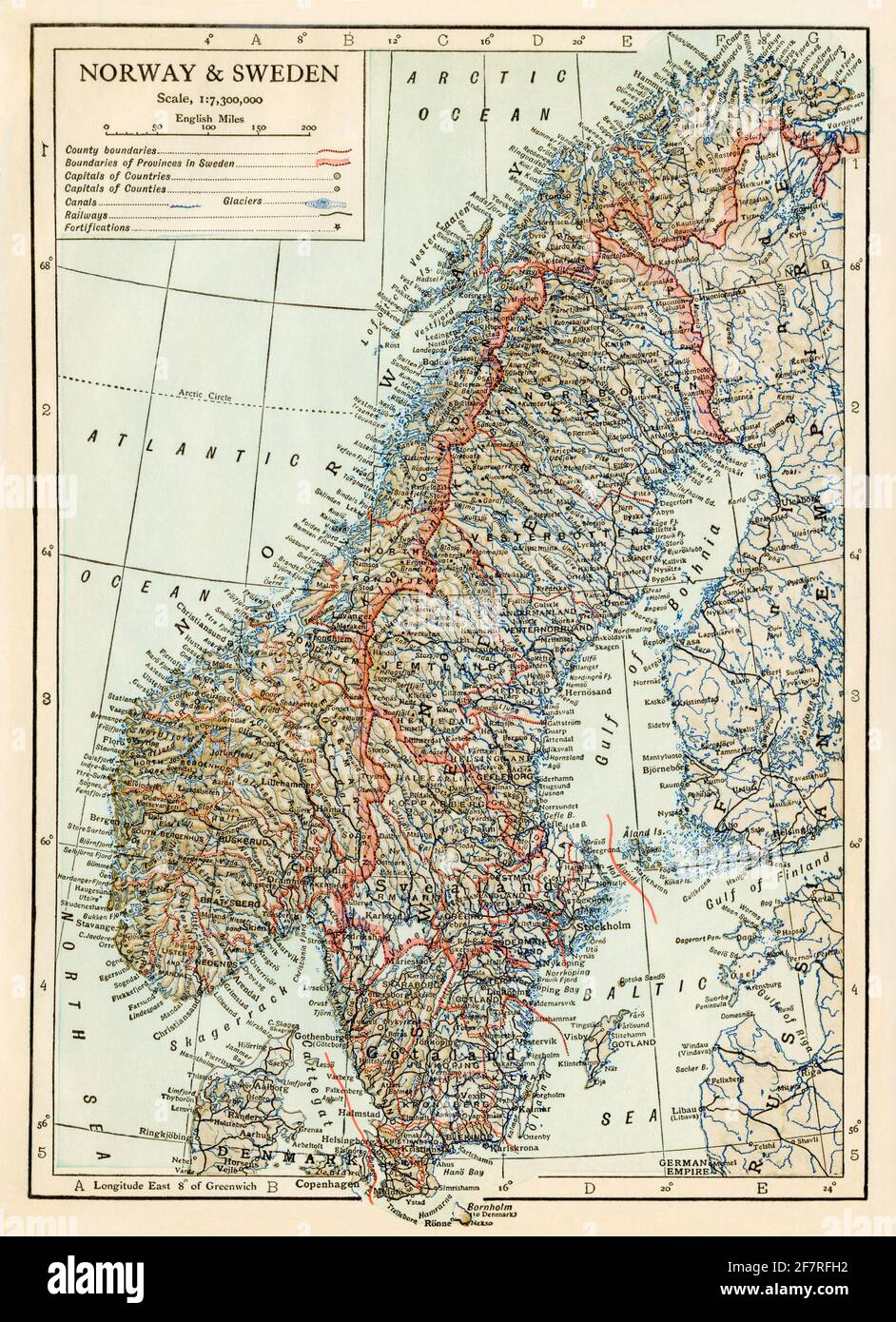 Map of Norway and Sweden circa 1900. Color halftone Stock Photo