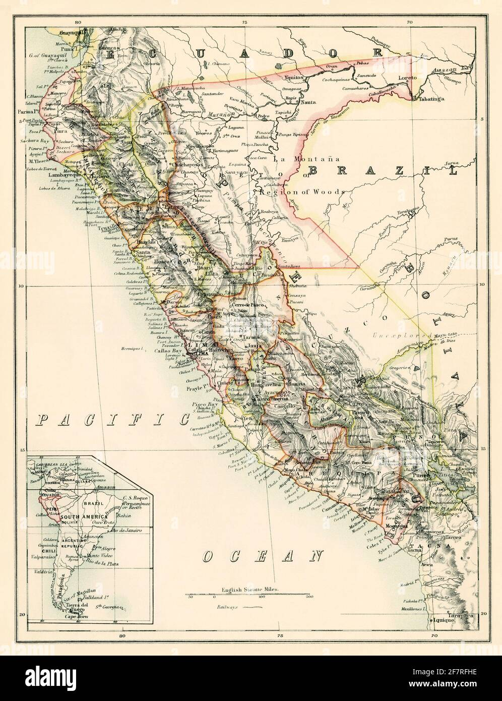 Map of Peru, 1870s. Color lithograph Stock Photo