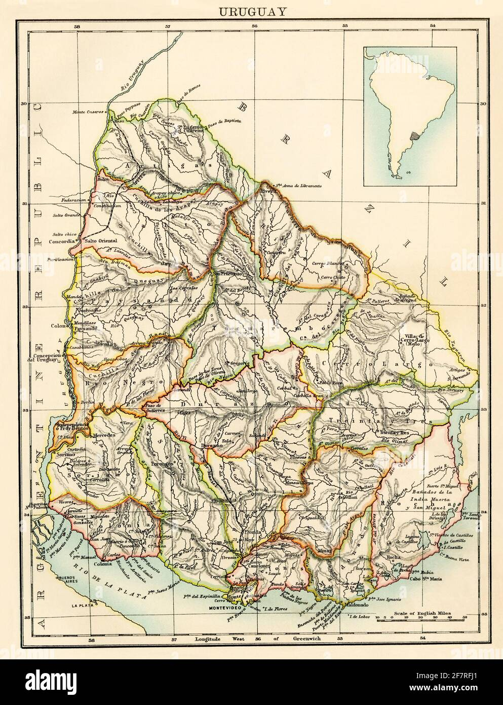 Map of Uruguay, 1870s. Color lithograph Stock Photo