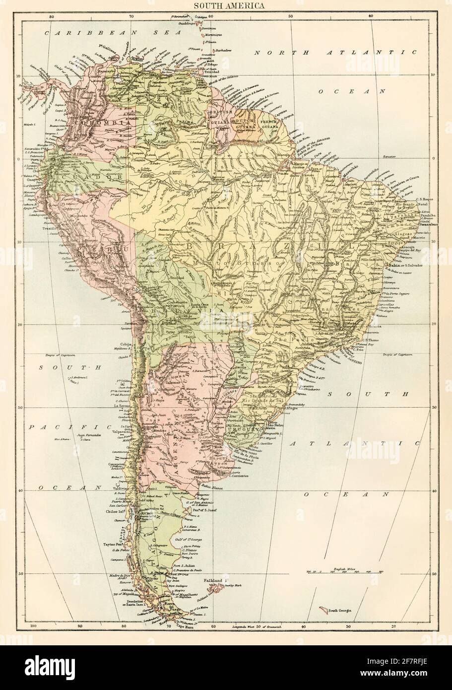 Map of South America, 1870s. Color lithograph Stock Photo