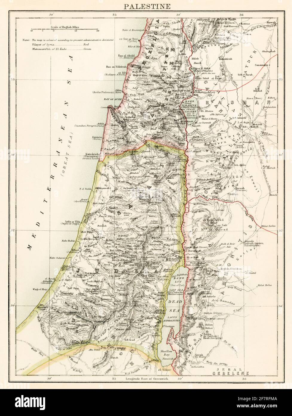 Map of Palestine, 1870s. Color lithograph Stock Photo