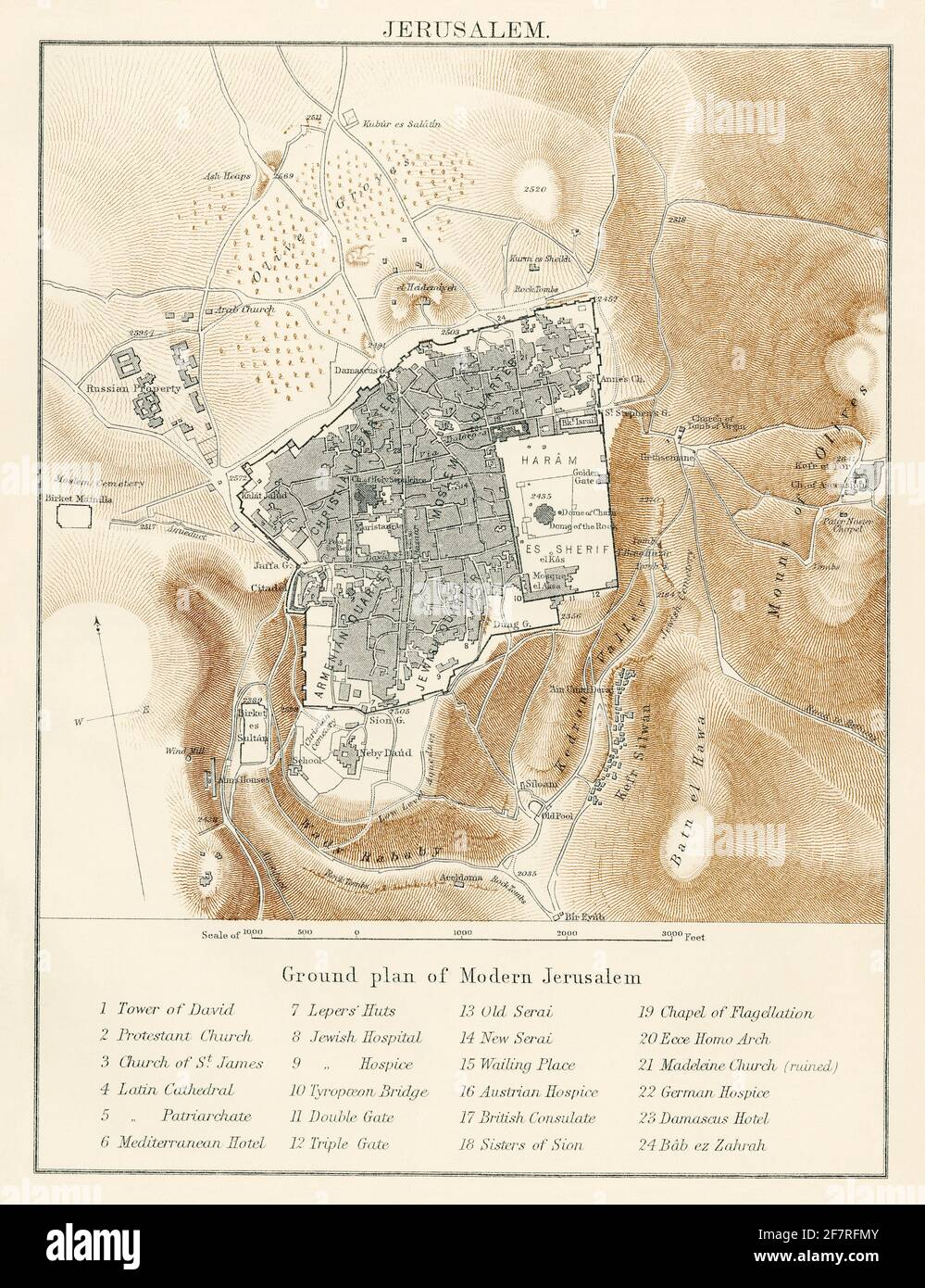 Map of Jerusalem, 1870s. Color lithograph Stock Photo
