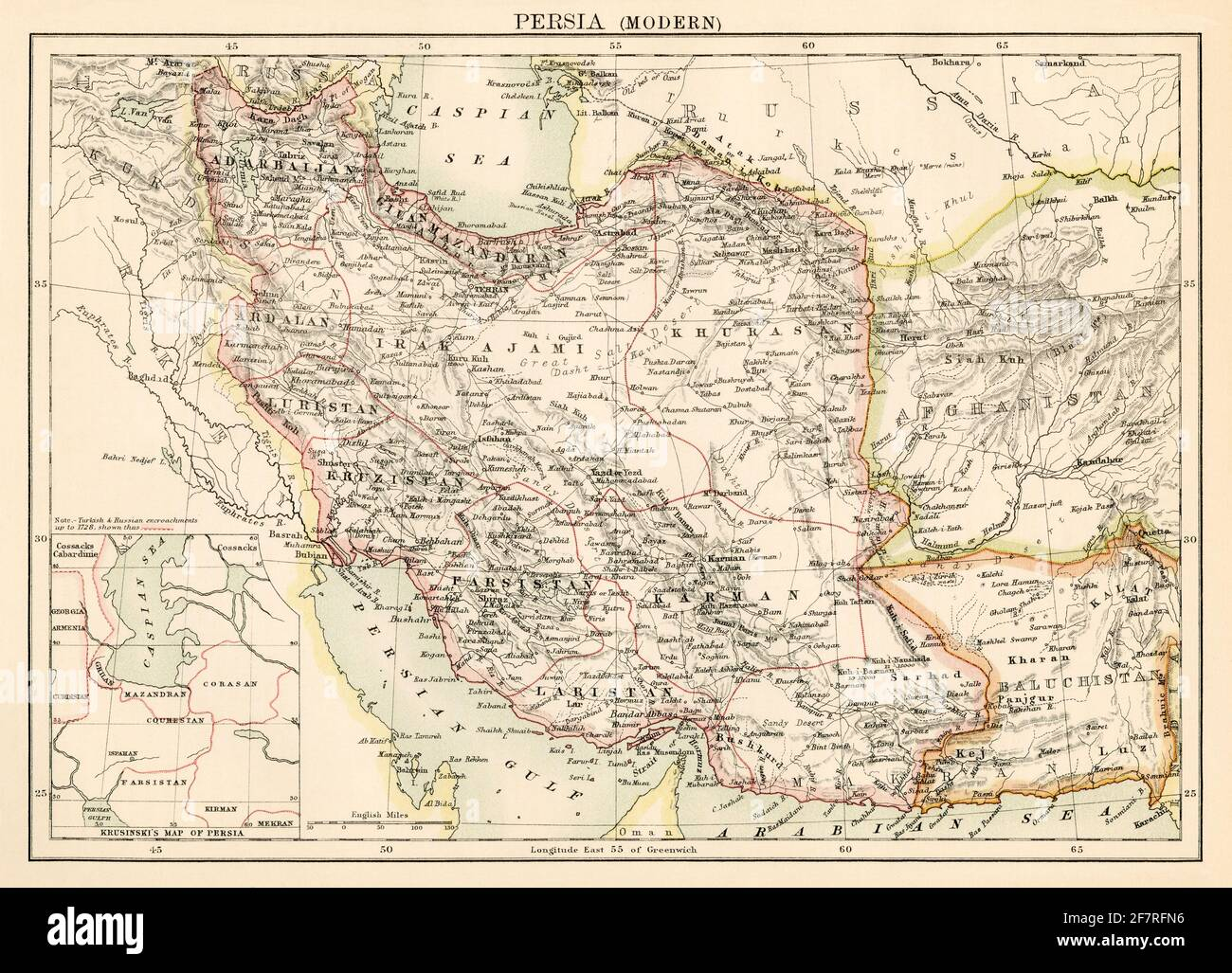 Map of Persia (Iran), 1870s. Color lithograph Stock Photo