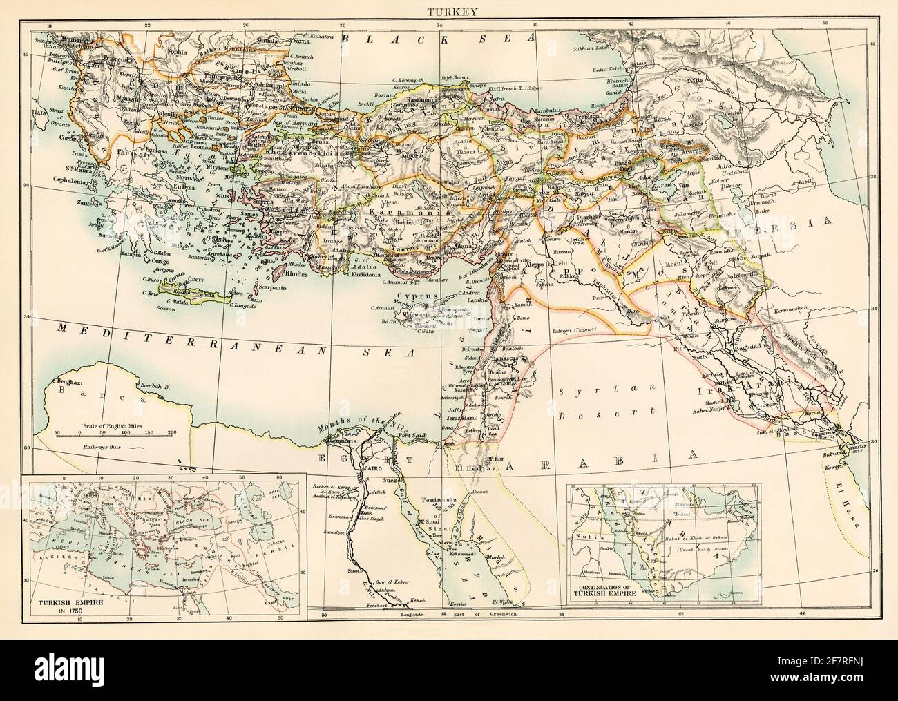 Map of Turkey, 1870s. Color lithograph Stock Photo