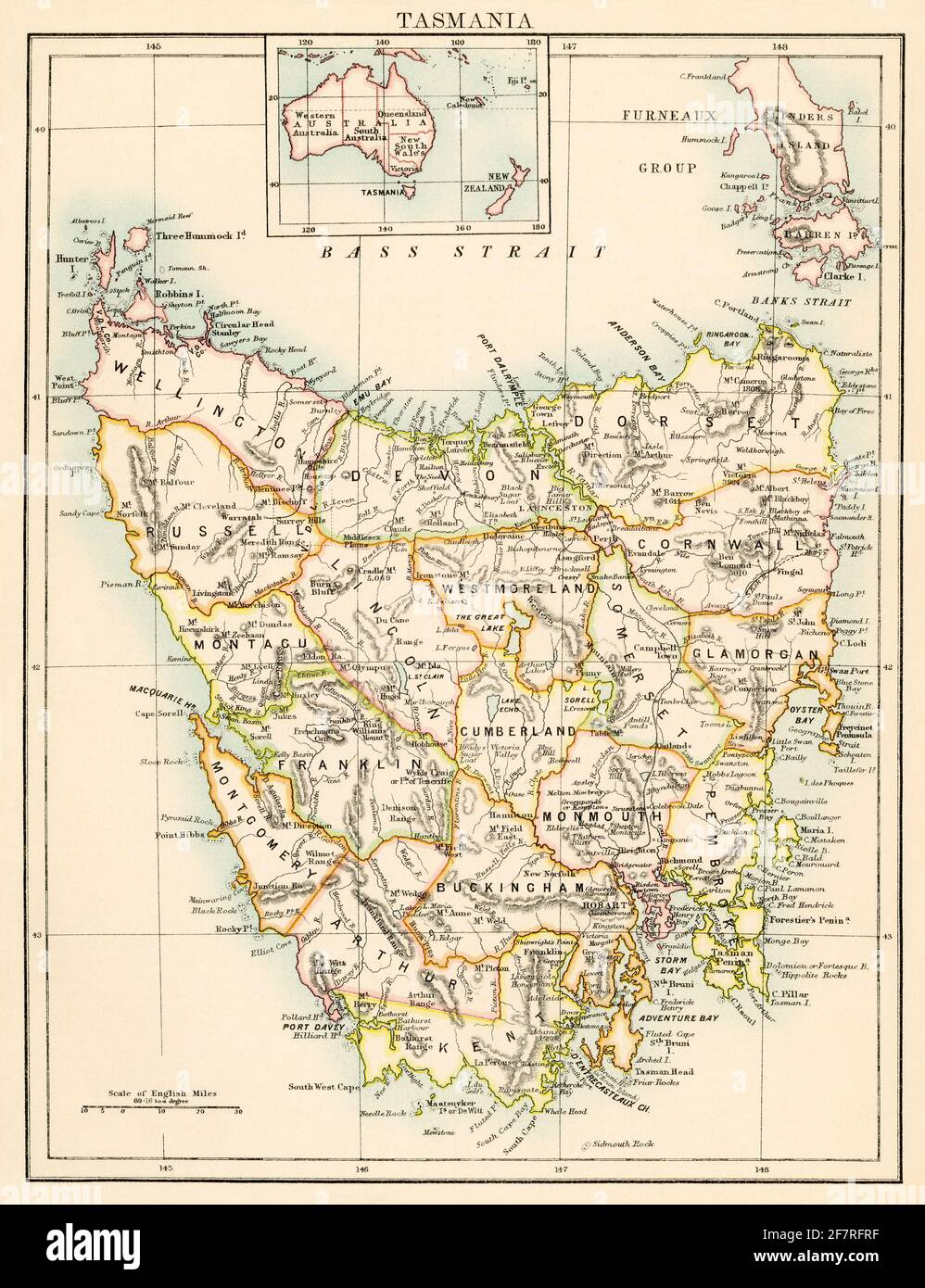 Map of Tasmania, 1870s. Color lithograph Stock Photo