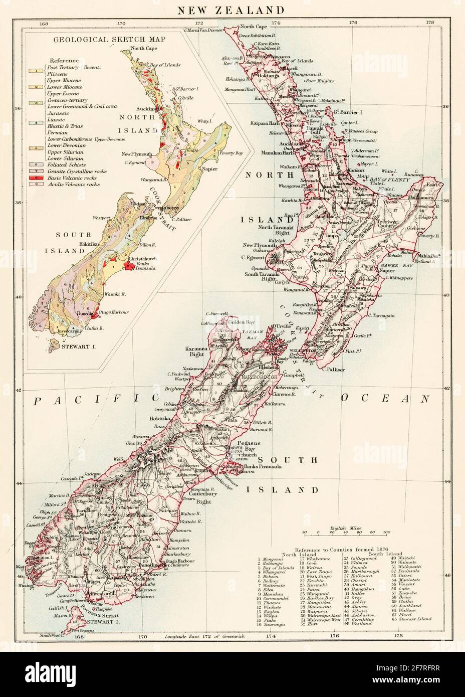 Map of New Zealand, 1870s. Color lithograph Stock Photo