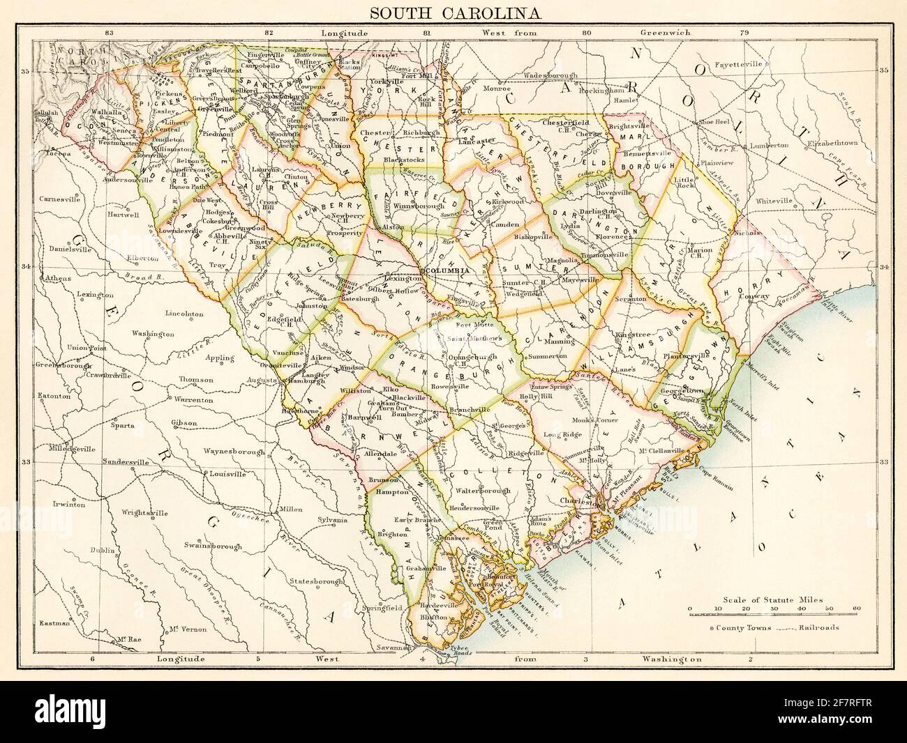 Map of South Carolina, 1870s. Color lithograph Stock Photo
