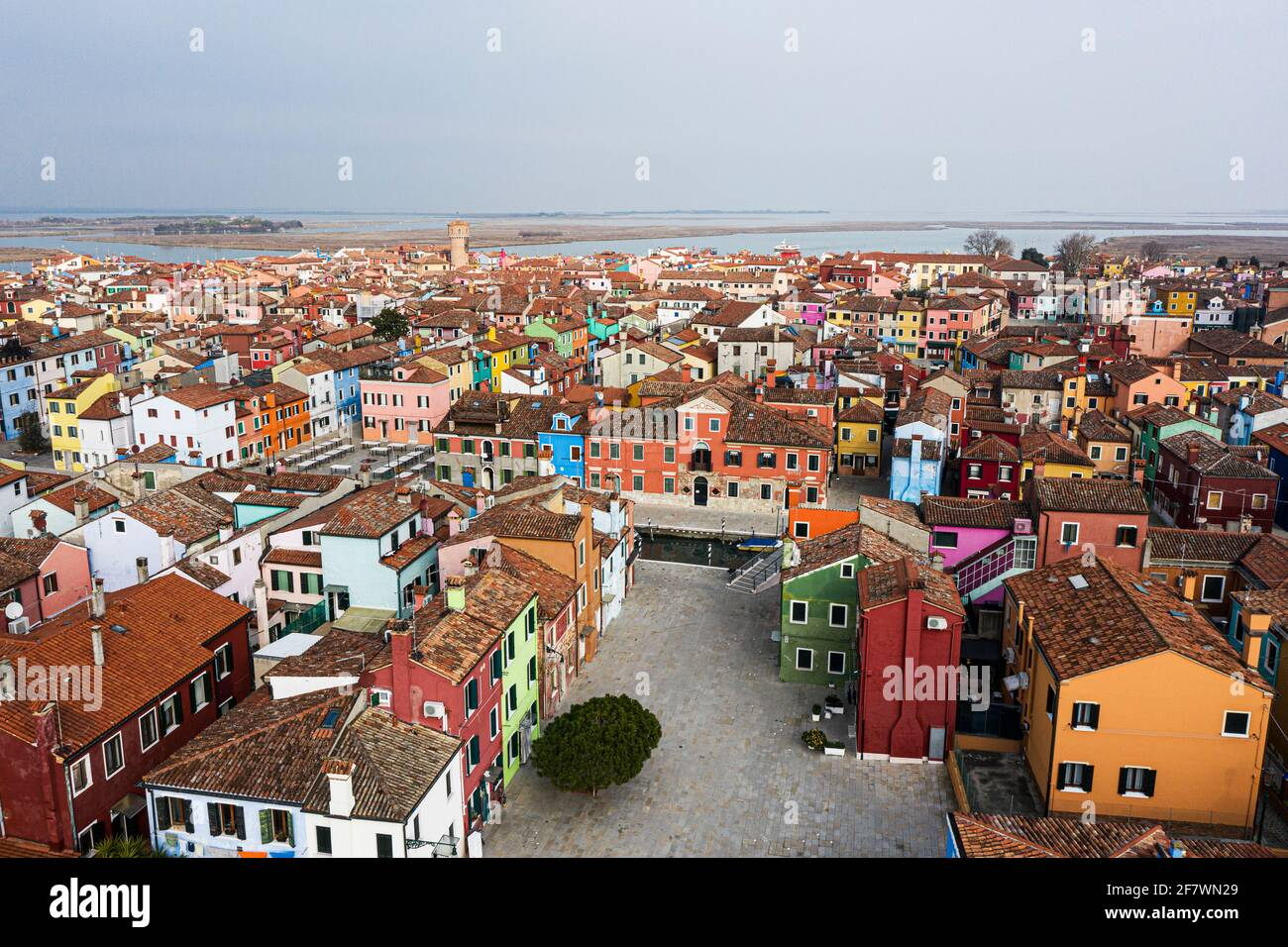 Aerial view of the colorful houses of the Burano Island Stock Photo