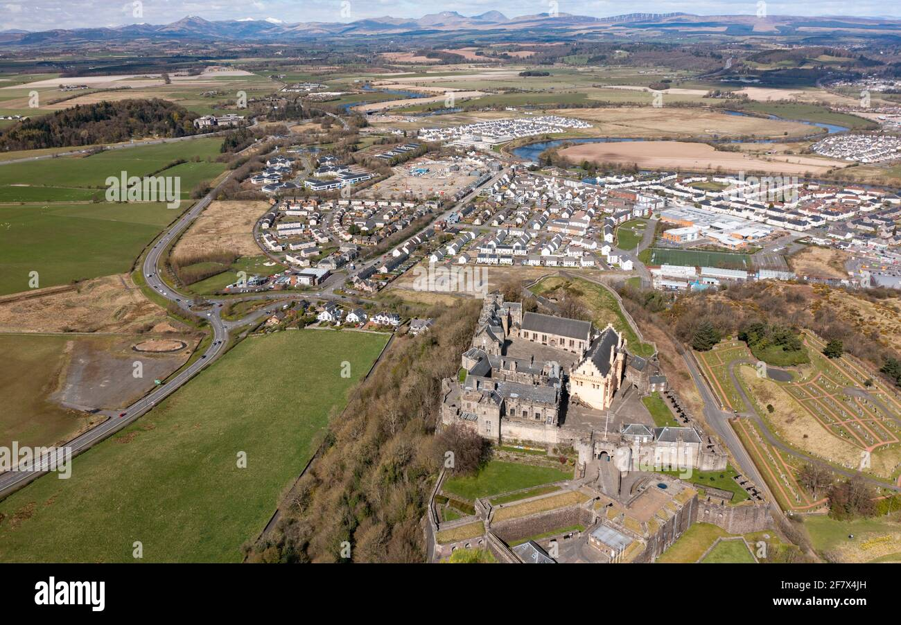 Aerial view from drone of Stirling Castle (closed during Covid-19 lockdown) in Stirling, Scotland, UK Stock Photo