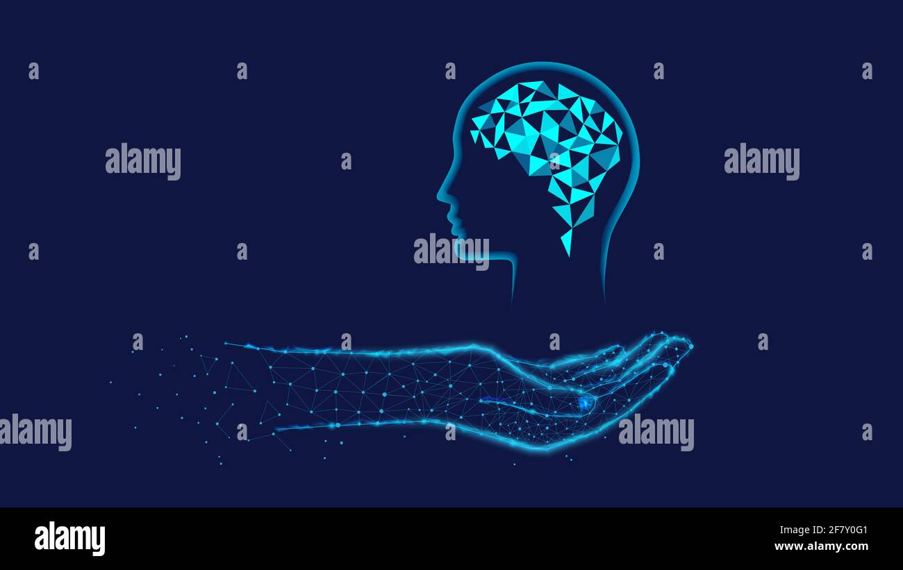 Head, Brain in polygonal hand. Innovation concept or human thinking, neural networks, artificial intelligence, innovative technology, and communicatio Stock Photo
