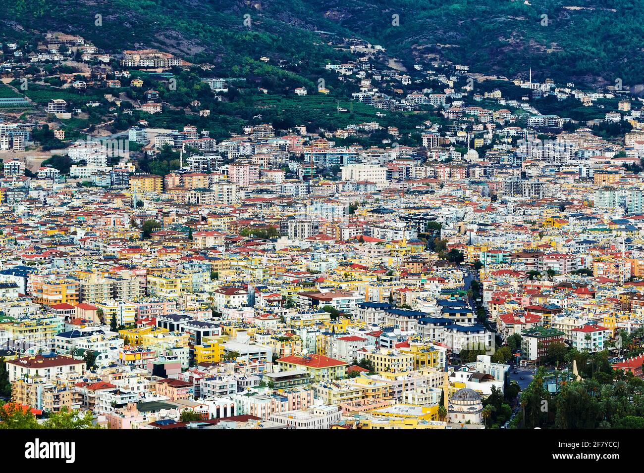 view from the top of the houses situated on the hill Stock Photo
