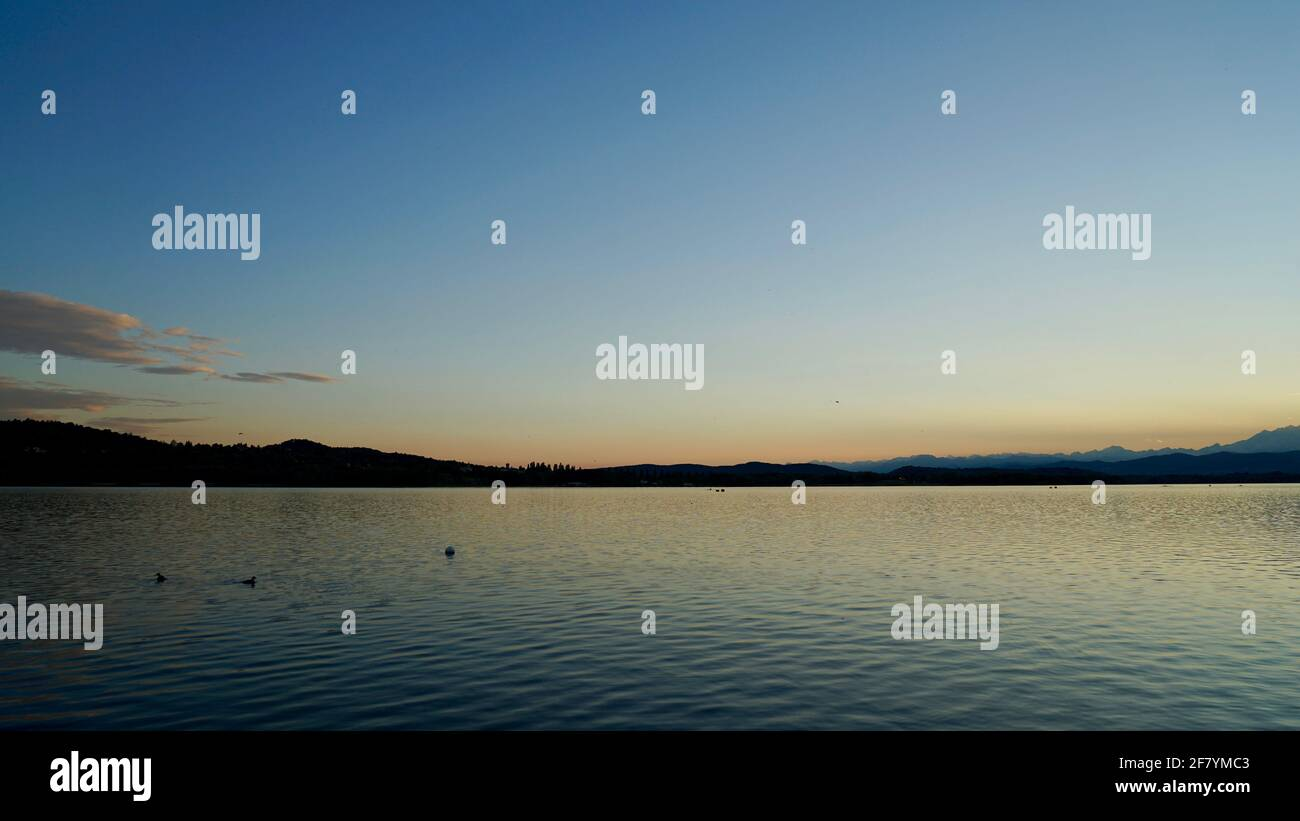 After sunset of lake Varese in Italy. Stock Photo