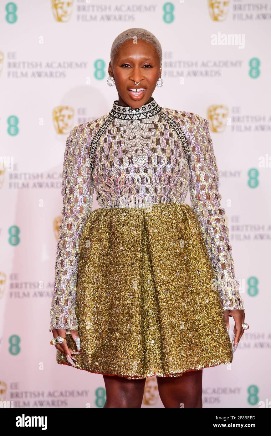 Cynthia Erivo arrives for the EE BAFTA Film Awards at the Royal Albert Hall in London. Picture date: Sunday April 11, 2021. Stock Photo