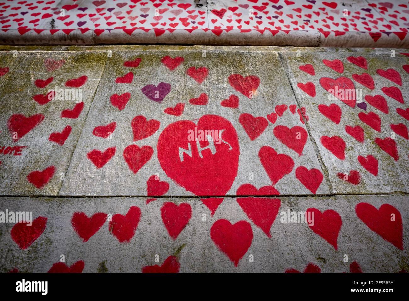 Coronavirus: National Covid Memorial Wall of Hearts, Westminster, London, UK. Stock Photo