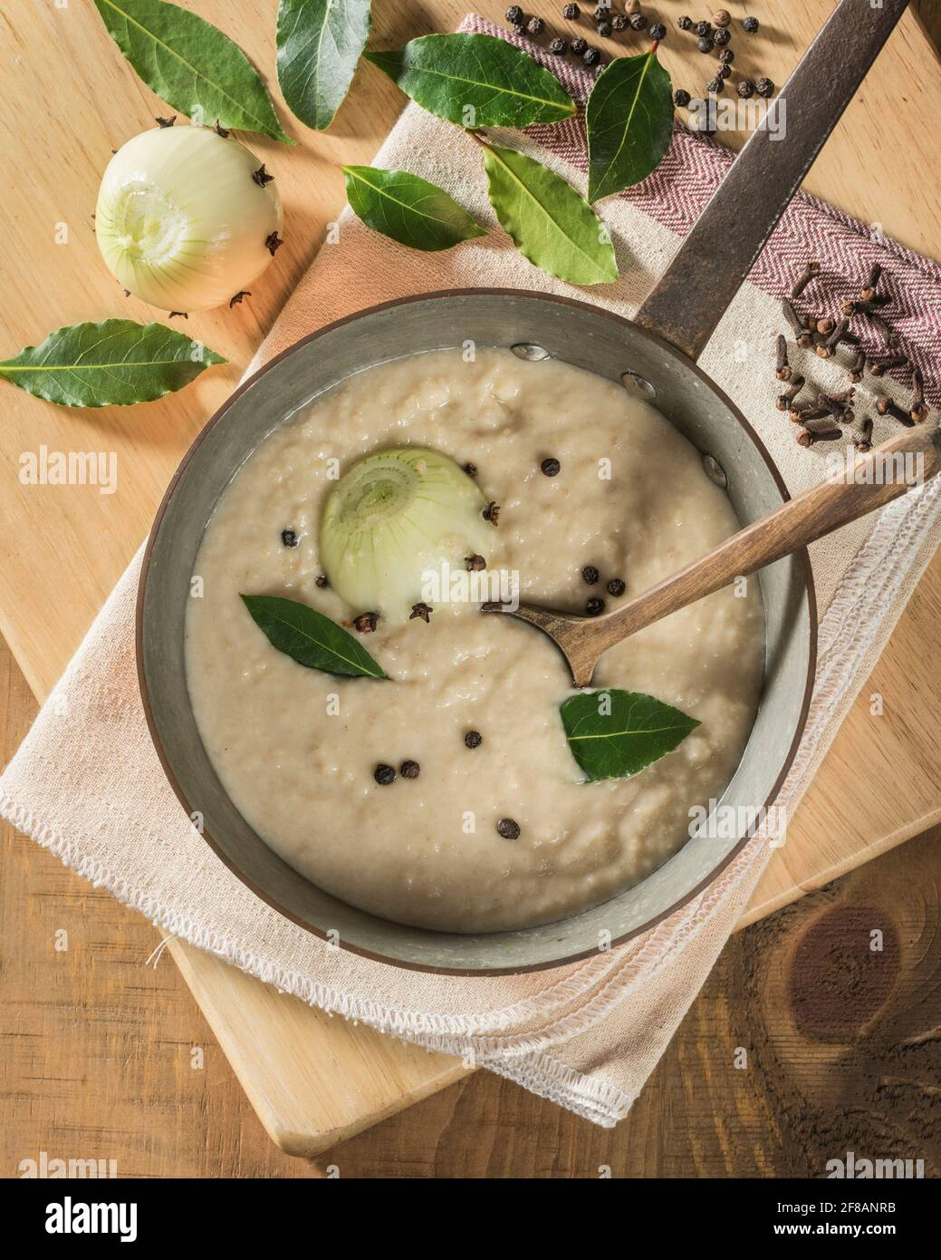 Bread sauce.Traditional accompaniment to chicken, turkey and game birds. Stock Photo