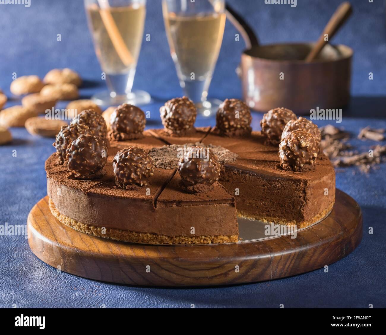 Chocolate truffle torte Stock Photo