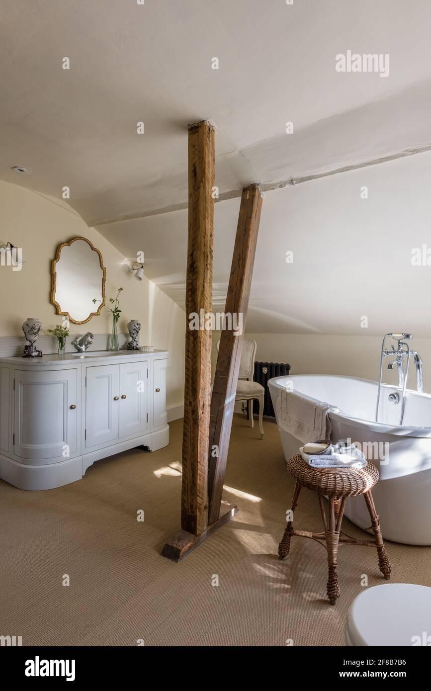 Original Tudor beams in renovated Grade II listed Suffolk farmhouse Stock Photo