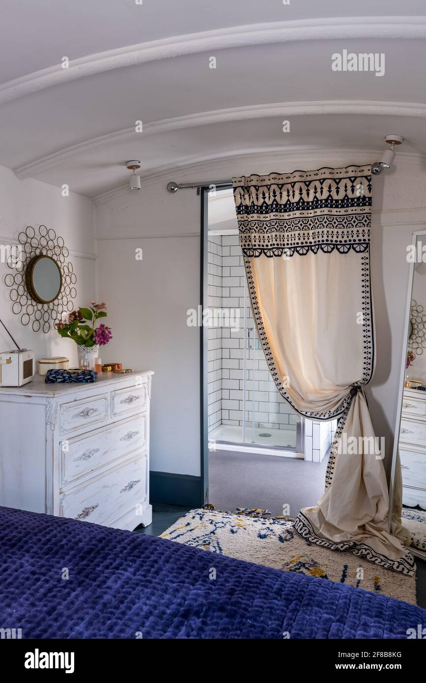 En suite shower room in repurposed Victorian railway carriage, West Sussex. Stock Photo