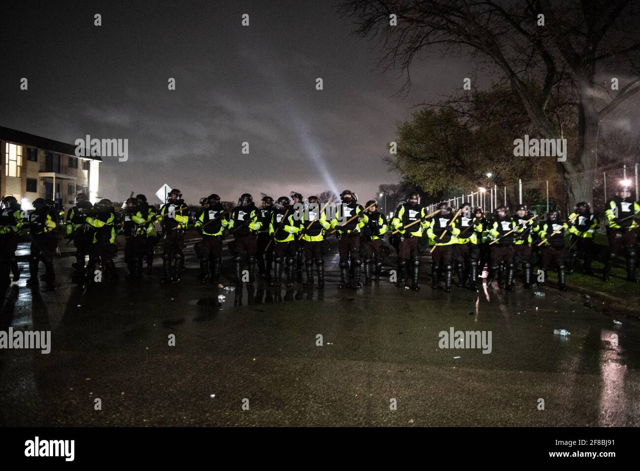 Brooklyn Center, Minnesota, April 12, 2021,  Protestors and Police Officers clash outside the Brooklyn Center Police Department on April 12, 2021 in Brooklyn Center, Minnesota after the killing of Daunte Wright. Photo: Chris Tuite/ImageSPACE /MediaPunch Stock Photo