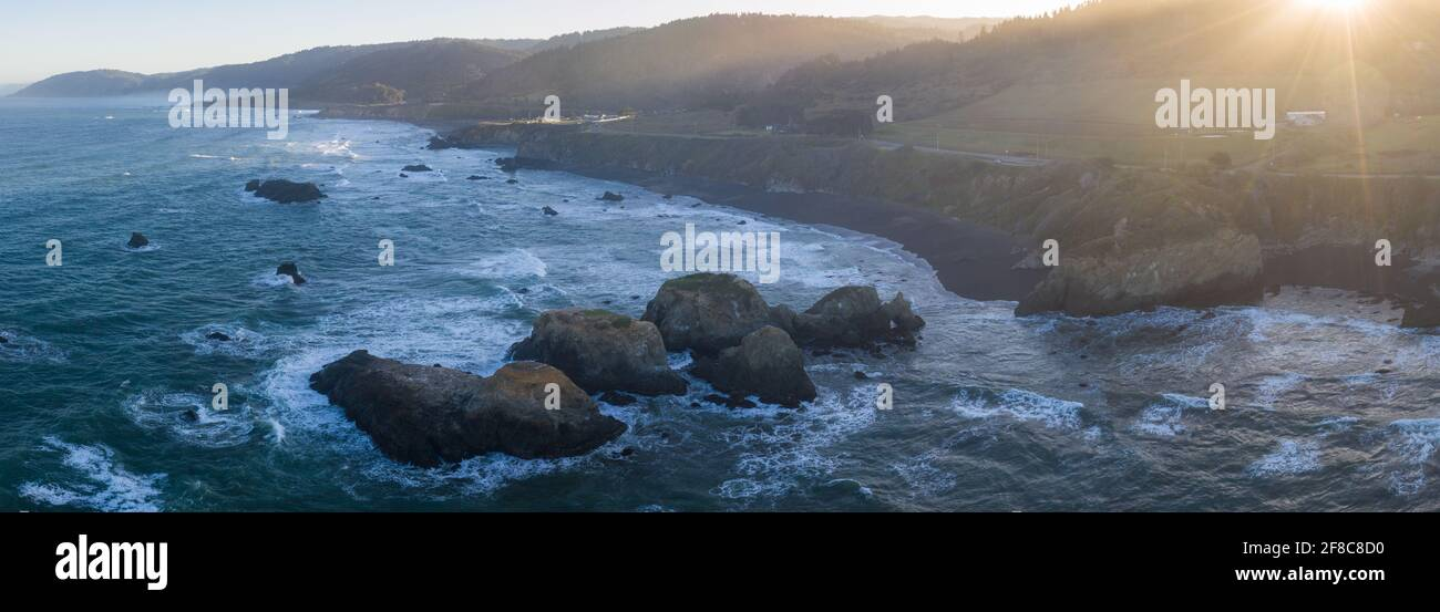 The Pacific Ocean meets the rocky shore of Northern California in Mendocino. This scenic region is known for its beautiful, rugged coastlines. Stock Photo