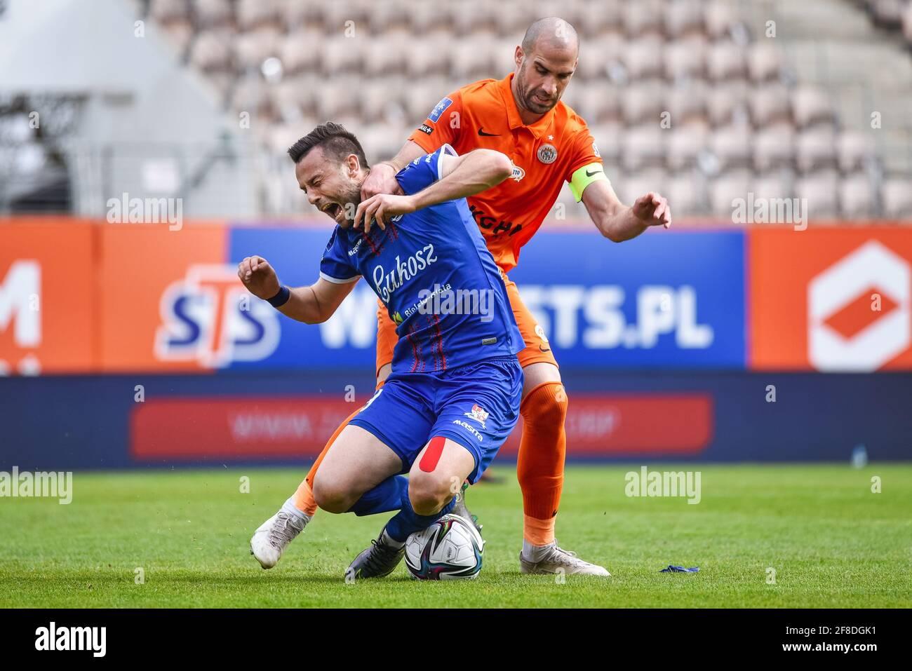 LUBIN, POLAND - APRIL 11, 2021: Football match Polish PKO Ekstraklasa between KGHM Zaglebie Lubin - Podbeskidzie Bielsko-Biala 2:1. In action Kamil Bi Stock Photo - Alamy