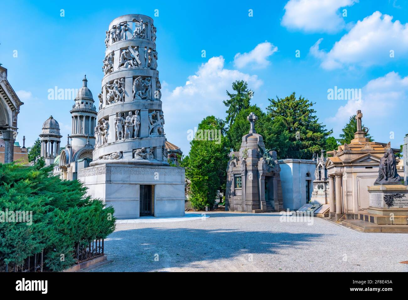 MILANO, ITALY, JULY 19, 2019: Bernocchi Mausoleum at Cimietro Monumentale in mIlano, Italy Stock Photo