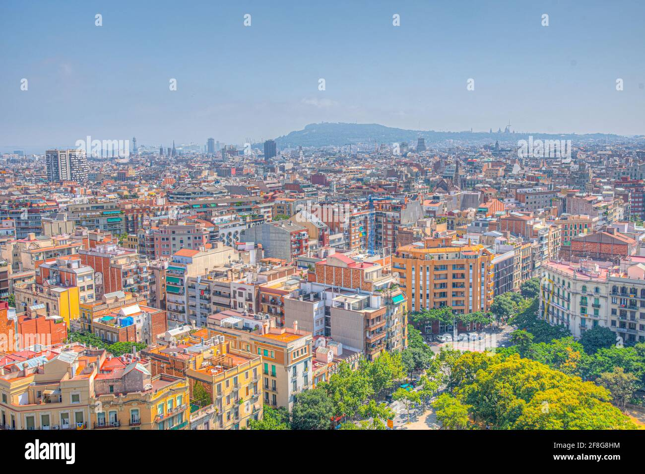 Aerial view of the ciutat vella of Barcelona from Sagrada Familia cathedral, Spain Stock Photo