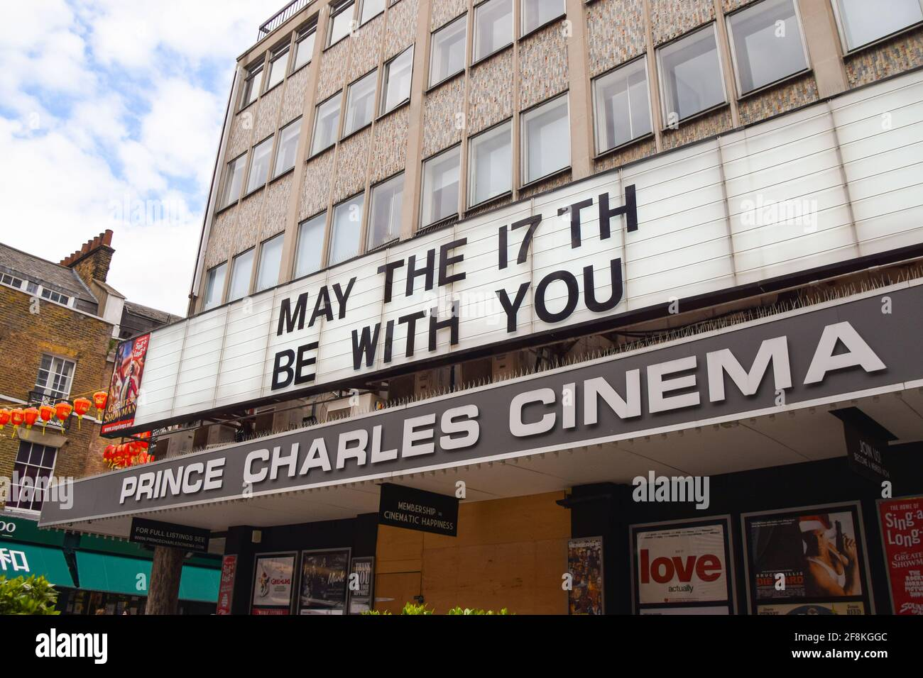 London, United Kingdom. 14th April 2021. 'May The 17th Be With You' on the marquee at Prince Charles Cinema, West End. Cinemas in the UK are due to reopen on 17th May. Stock Photo