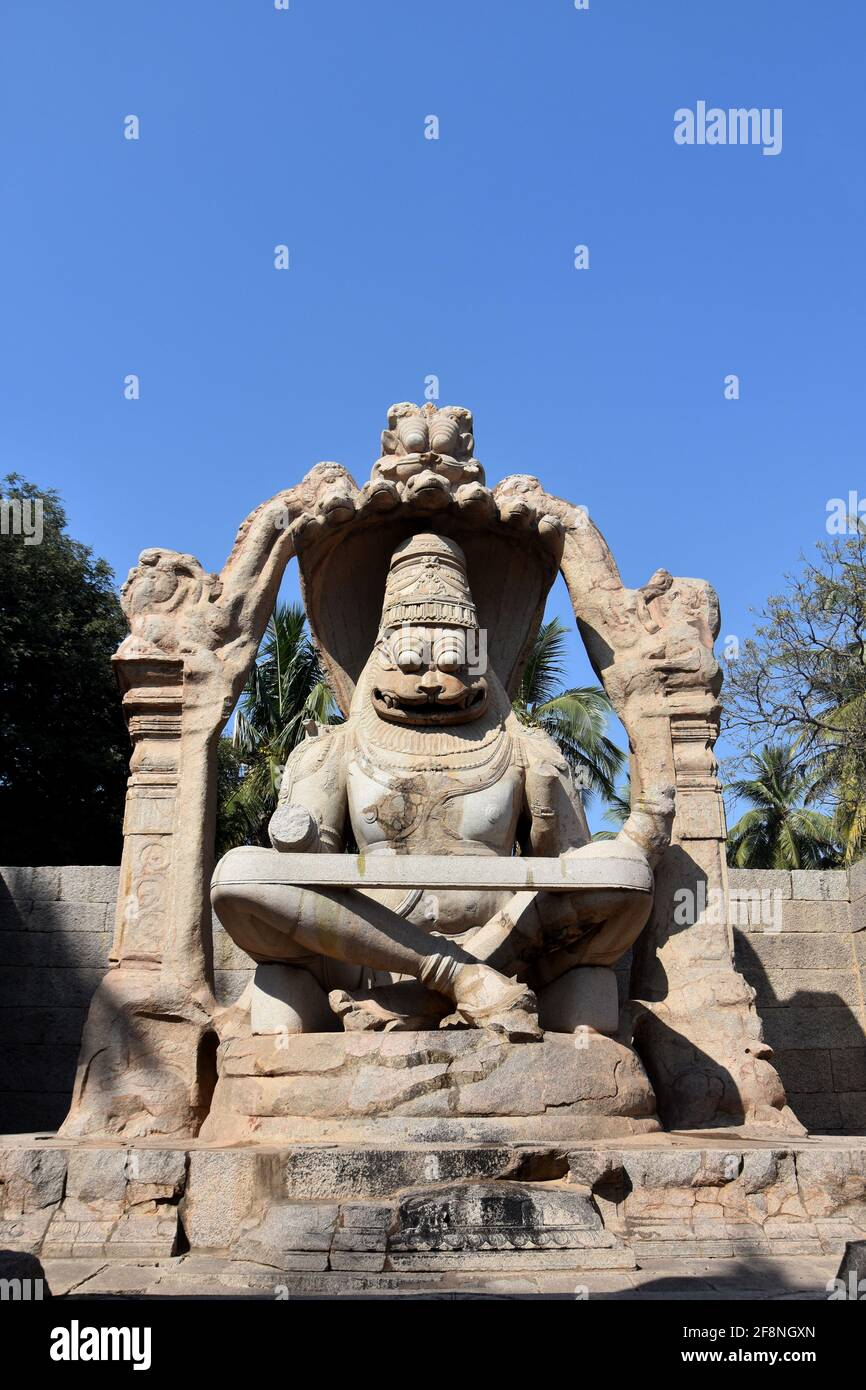 Lakshmi Narasimha Temple or Statue of Ugra Narasimha, Hampi The speciality of the sculpture is that it is the largest monolith statue in Hampi Stock Photo