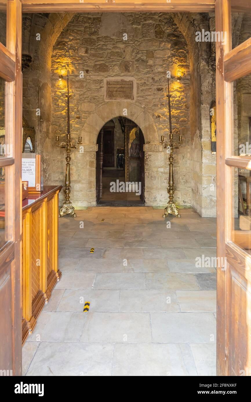December 2020. Kiti, Larnaca Cyprus. Interior of Panagia Angeloktisti or Our Lady built by Angels, 11th Century, Kiti Stock Photo