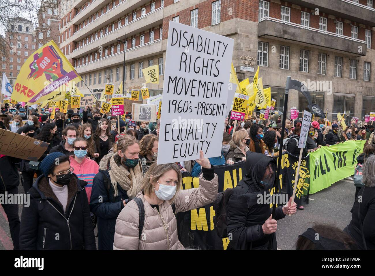 2021, 3rd April : Thousands of protesters march and rally in central London against the police, crime, sentencing and courts bill that will ristrict the democratic right to protest and the errosion of individual freedom, moving the UK further towards authoritariansim. Stock Photo