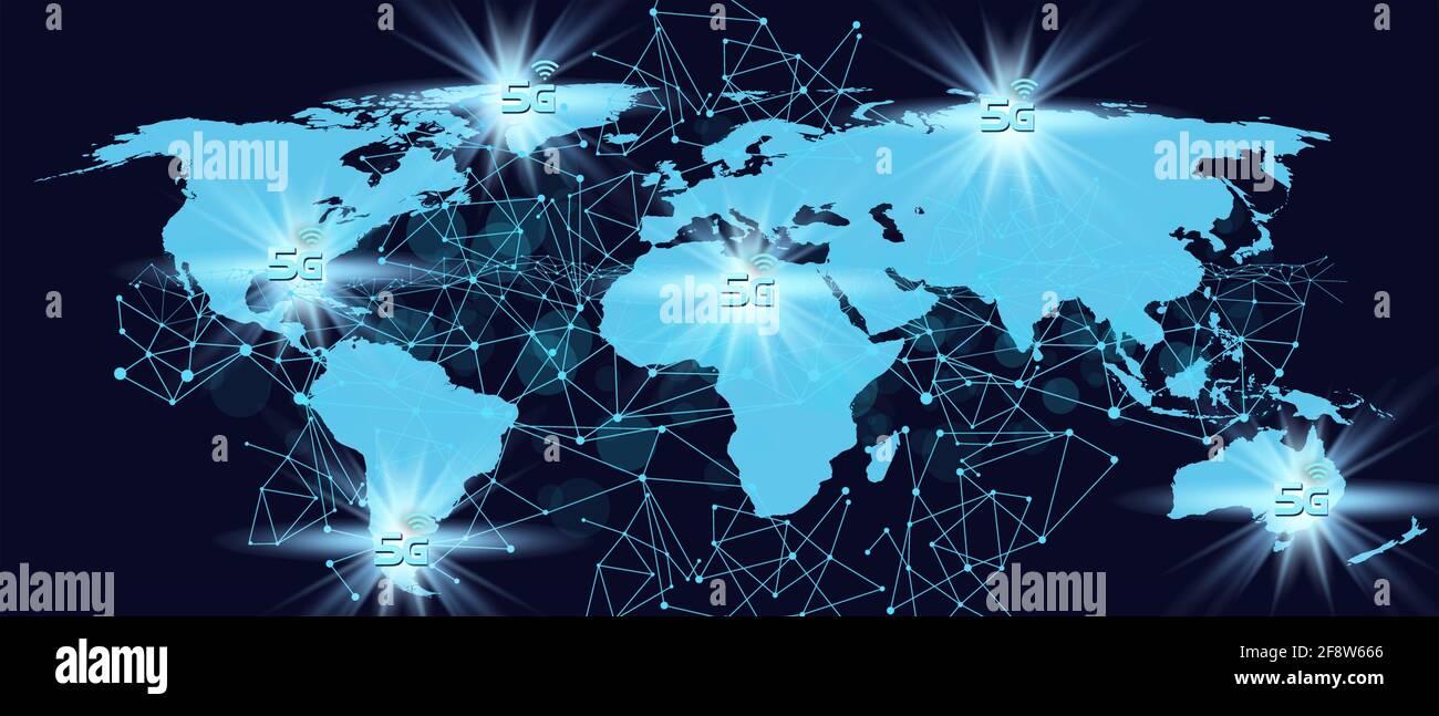 5G technology concept.World map digital background. 3D illustration Stock Photo