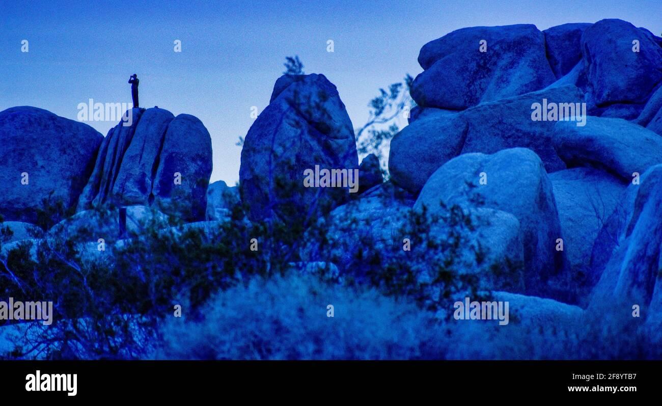 Rock formations at dusk, Joshua Tree National Park, California, USA Stock Photo