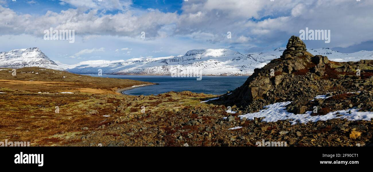 Brown barren landscape with coastline and hills, Iceland Stock Photo