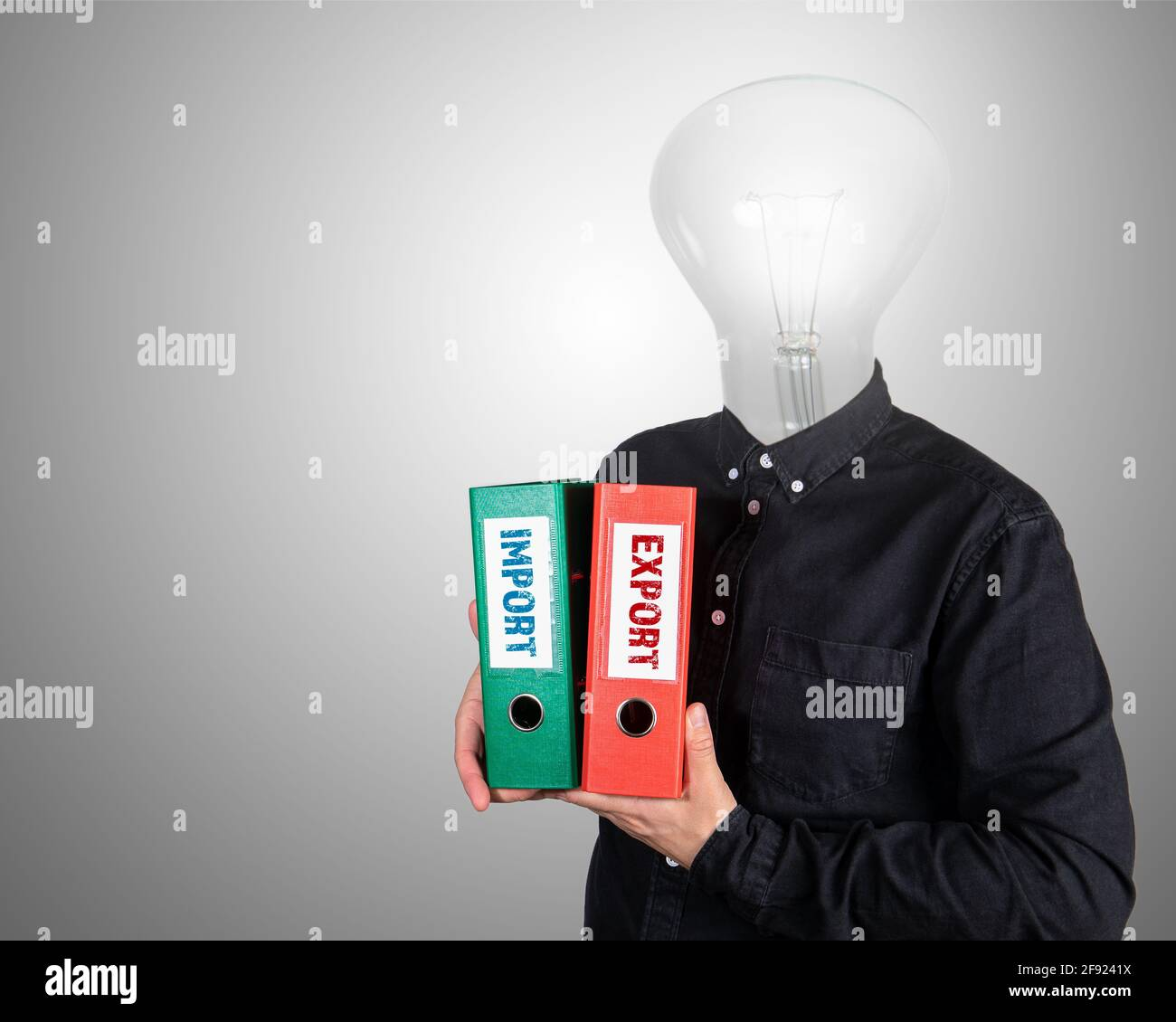 Import and Export concept. Two document folders in a man's hands. Stock Photo