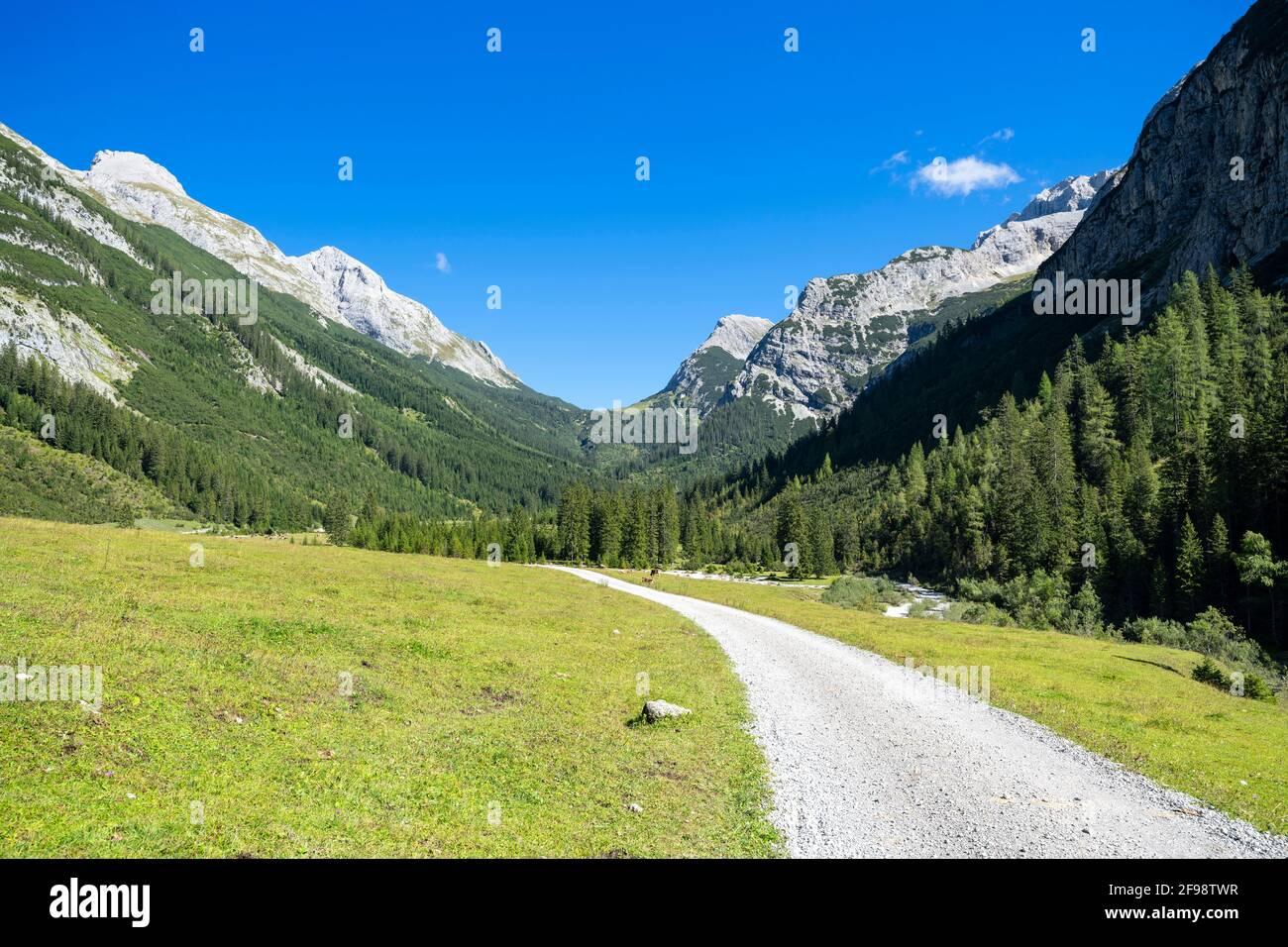 Alpine mountain landscape in the Karwendel valley on a sunny summer day. Karwendel, Tyrol, Austria Stock Photo
