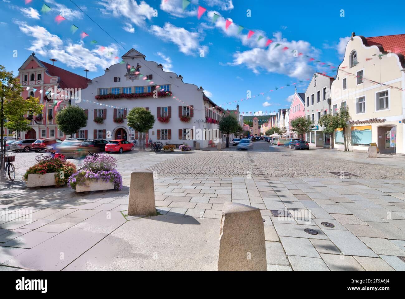 Ludwigsplatz, town hall, Danube tower, house facade, old, historical, architecture, Kelheim, Bavaria, Germany, Europe Stock Photo