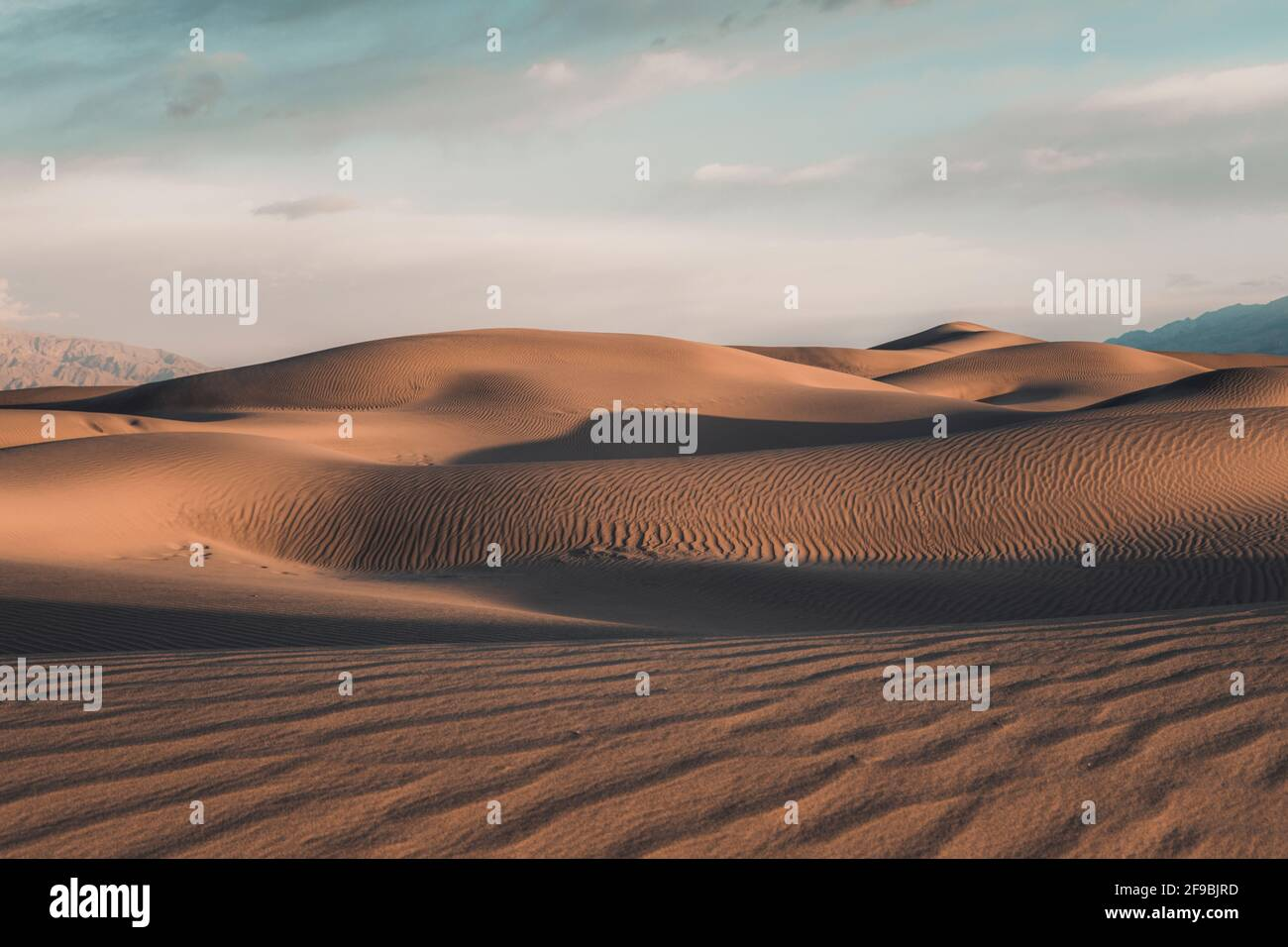 Rising dunes at Mesquite Flat in Death Valley, California. Stock Photo