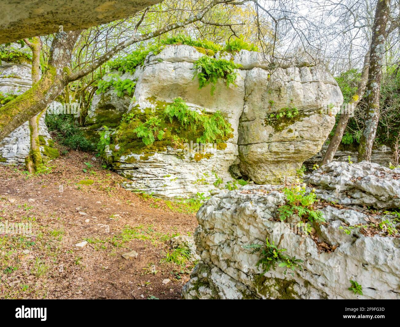 Big rock rocks near Church St Saint Peter on peak crkva Svetog Petra apostola na vrhu on rock between Krancici and Bale in Istria in Croatia Europe Stock Photo