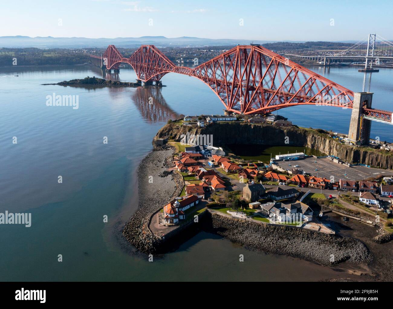 Aerial view of the Forth Rail Bridge at North Queensferry. The bridge completed in 1889 spans the Firth of Forth between North and South Queensferry. Stock Photo
