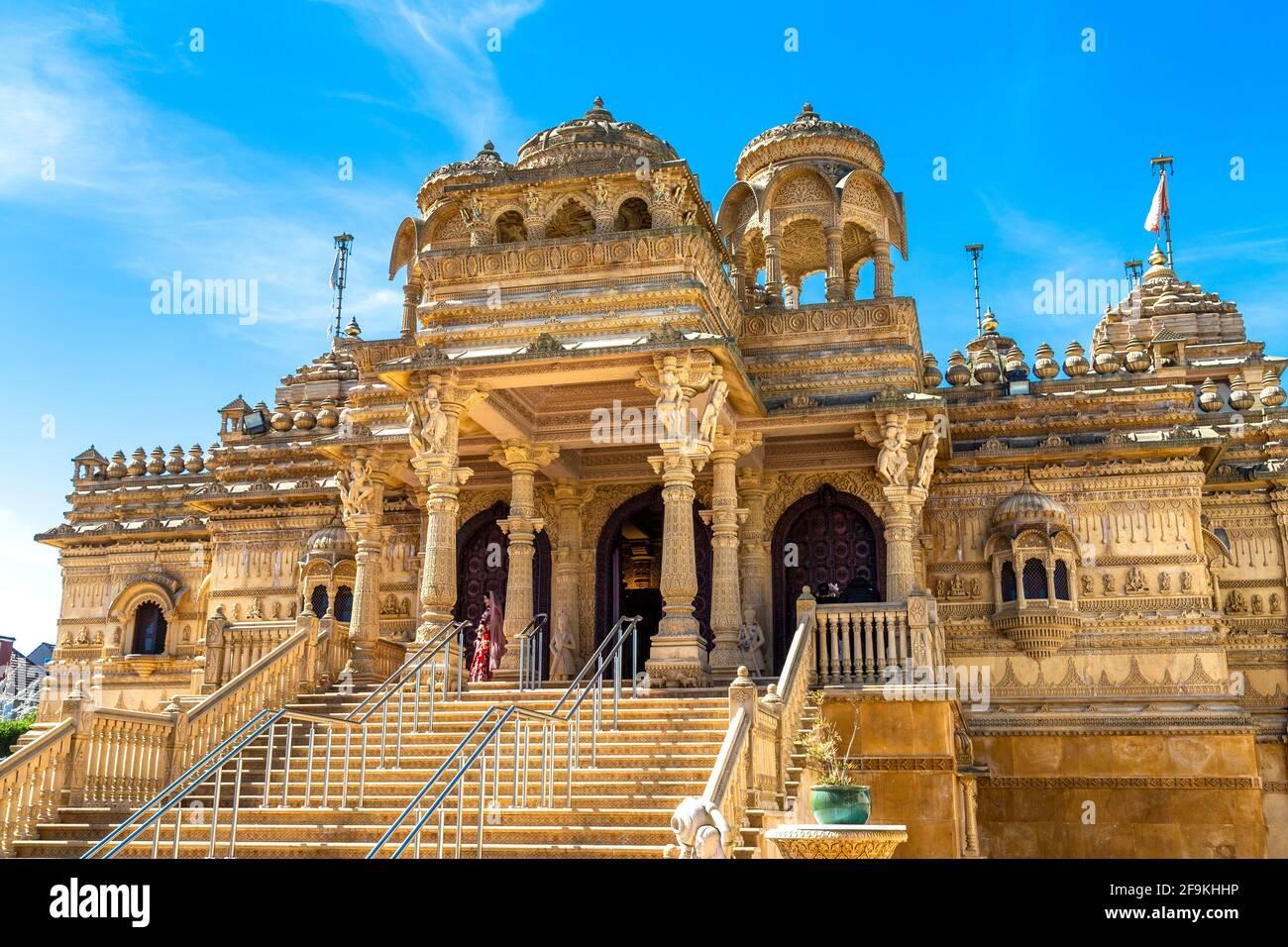 Ornate limestone Hindu temple Shri Vallabh Nidhi Mandir in Alperton, Wembley, London, UK Stock Photo